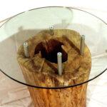tavolino su tronco con vetro