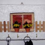 appendi chiavi bianco da parete con fiori gialli di perline (h)