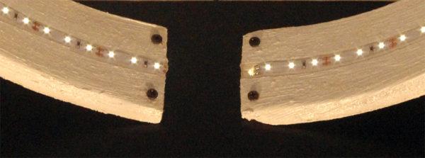 Lampada Da Tavolo Di Legno Rotonda Con Striscia Led Mod Inverness Dilegnoinlegno