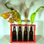 espositore fiori in legno e vetro