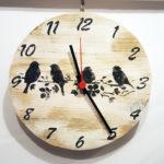 orologio di legno con uccellini (g)