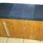 panchina contenitore con seduta in tessuto