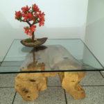tavolino da salotto con vetro su ceppo – Mod. Canterbury