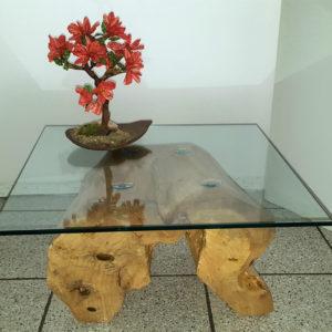 tavolino da salotto con vetro su ceppo - Mod. Canterbury
