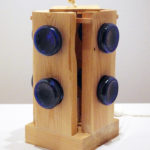 abat-jour con fondi di bottiglia blu (A)